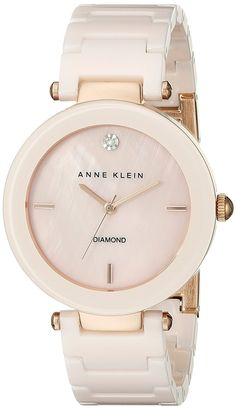 Amazon.com: Anne Klein Women's AK/1018PMLP Diamond-Accented Light Pink Watch With Ceramic Bracelet: Watches