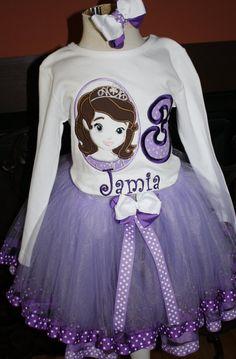 Sofia the first princess ribbon trimmed tutu set by christy961, $56.00