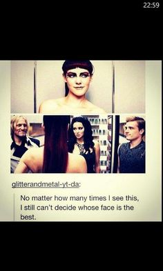 """I love how Katniss looks like she's thinking """"This girl's insane."""" While Peeta just kinda looks at Katniss like """"Umm I'm not sure what to do here, is this ok with you?"""" and Haymitch just looks right at Johanna and smirks. And then there's Johanna thinking """"Get used to it guys, we'll do this again sometime."""""""
