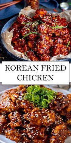 Korean Fried Chicken - Dinner, then Dessert - Recipes Asian Recipes, Beef Recipes, Chicken Recipes, Vegetarian Recipes, Cooking Recipes, Healthy Recipes, Asian Desserts, Healthy Food, Korean Fried Chicken
