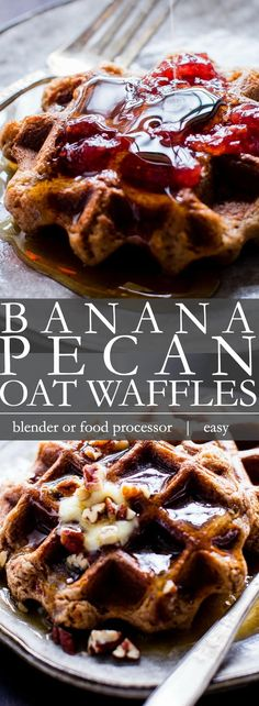 Easy weekend mornings or pull from the freezer weekday ready? Banana-Pecan Oat Waffles recipe is whipped up in the blender! Vegan oatmeal waffles anyone? Breakfast Waffles, Pancakes And Waffles, Oatmeal Waffles, Vegan Desserts, Vegan Recipes, Dessert Recipes, Healthy Waffles, Vegan Fast Food, Photo Food