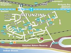 Mtunzini map - in case I get lost :D Nature Reserve, Wilderness, South Africa, Lost, Ocean, Shades, Map, Location Map, The Ocean