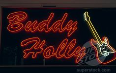 vintage neon signs texas | ... neon sign lit up at night, Buddy Holly Center, Lubbock, Texas, USA