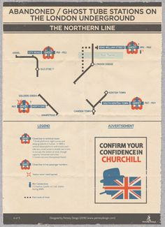 Abandoned/Ghost Tube Stations on the London Underground - The Northern Line. Confirm Your Confidence In Churchill London Underground Tube, London Underground Stations, Underground Lines, Transport Map, London Transport, Transport Posters, Vintage London, Old London, North London