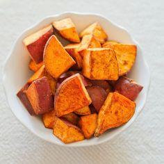 Coconut Oil Roasted Sweet Potatoes Recipe Side Dishes with sweet potatoes, coconut oil, cinnamon, sea salt, cayenne pepper