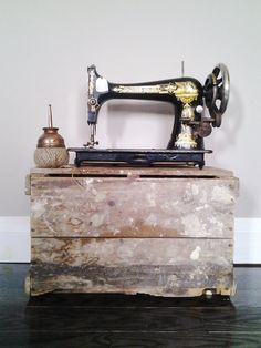 Vintage 1901 Black and Gold Singer Sewing Machine by CocoAndBear