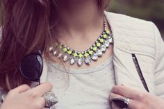 DIY inspiration: neon rhinestone necklace