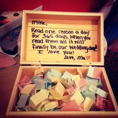 So precious. 1 year before wedding day. Each day read one slip of paper.