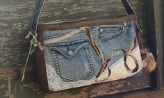 Upcycled Denim Handbag Leather and Lace by DonnaGunn on Etsy, $175.00