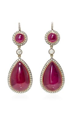 Royal Ruby Drops Earrings by Sanjay Kasliwal Ruby Earrings, Stone Earrings, Garnet Jewelry, Diamond Jewelry, The Royal Collection, Bubblegum Pink, Pink Sapphire, Jewelery, Fine Jewelry