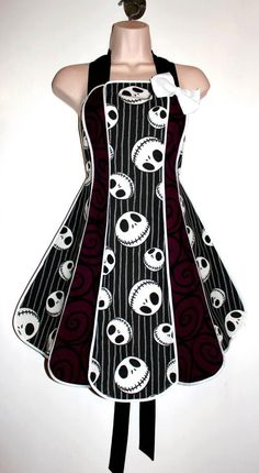 Vintage inspired Nightmare Before Christmas stylist / kitchen apron by XO Skeleton Creations - Jack Skellington fabric. $74.99, via Etsy.