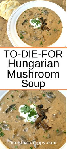 Rustic Hungarian Mushroom Soup Rustic Hungarian Mushroom Soup is a creamy soup recipe that will quickly become one of your family's favorite. To-Die-For is an accurate description for this easy dish that will make everyone happy. Creamy Soup Recipes, Best Soup Recipes, Vegetarian Recipes, Cooking Recipes, Favorite Recipes, Healthy Recipes, Summer Soup Recipes, Simple Recipes, Bread Recipes