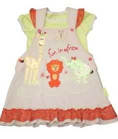 Adorable Fair trade cotton baby girls dress with beautifully embroidered with African animals and ruffled hem, matching lime yellow t shirt Baby Outfits, Kids Outfits, Cool Outfits, Organic Baby Clothes, Baby & Toddler Clothing, Kids Clothing, Tee Set, Africa Dress, Baby Boutique Clothing