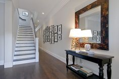 paint on the trim and stairs is Benjamin Moore's Decorators' White