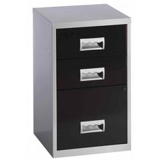 Office Filing Cabinet Home Durable Metal 3 Drawers Lockable Stylish Black Silver