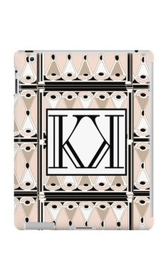 1920s Pink Champagne Deco Monogram letters K & K  by CecelyBloom  (ipad case covers)