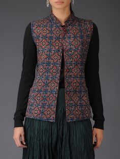 Blue Floral Ajrakh Print Quilted Cotton Jacket - New Ideas Cotton Saree Blouse Designs, Kurti Neck Designs, Kurti Designs Party Wear, Salwar Designs, Blouse Patterns, Jacket Style Kurti, Kurti With Jacket, Jacket Dress, Indian Jackets