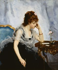 A Young Lady Writing a Letter (1875). Victor Gabriel Gilbert (French, 1847–1933). Oil on canvas.