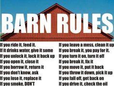 BARN RULES: respect em'
