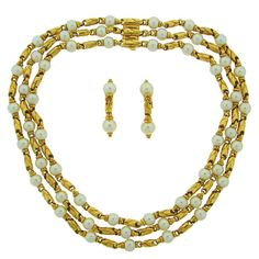 1980s Bulgari Akoya Pearl Gold Necklace and Earrings Set For Sale