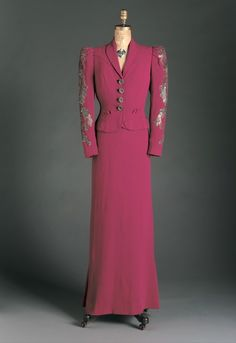"""A """"shocking pink"""" dress and dinner jacket with sequined sleeves, Schiaparelli (who invented the color), 1938."""