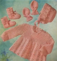 PDF Baby Girl Angel Top Bonnet Mitts and Bootees Crochet Pattern : Babies 19 inch chest . 4 Ply . Instant Digital Download by PDFKnittingCrochet on Etsy
