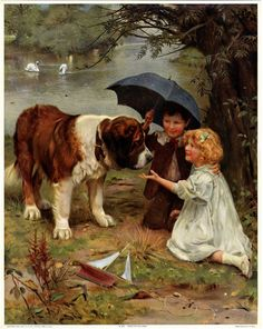 ANTIQUE ARTHUR JOHN ELSLEY 1910 VICTORIAN ART PRINT SAINT BERNARD + CHILDREN NR