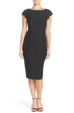 Maggy London Lace Detail Crepe Sheath Dress (Regular & Petite) short-sleeved LBD