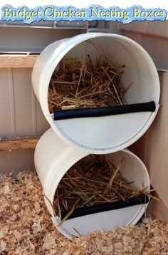 Budget Chicken Nesting Boxes Read HERE --- > http://www.livinggreenandfrugally.com/budget-chicken-nesting-boxes/