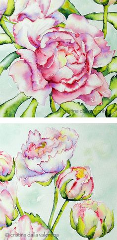 painting techniques and art by Cristina Dalla Valentina ♥ Watercolor Techniques, Painting Techniques, Watercolor Tutorials, Watercolor And Ink, Watercolor Flowers, Watercolor Pencils, Silk Painting, Painting & Drawing, Peony Painting