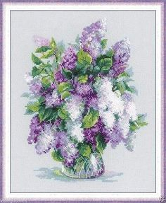 """Riolis Counted Cross Stitch Kit 9.5"""" x 11.75"""" ~ GENTLE LILAC #1447 Sale"""