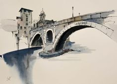 """Buy+""""The+Pons+Fabricius+in+Rome"""",+15.2x11.2""""(38x28cm),+Watercolour+by+Yuriy+Kraft+on+Artfinder.+Discover+thousands+of+other+original+paintings,+prints,+sculptures+and+photography+from+independent+artists."""
