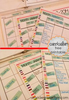 Free Printable Monthly Curriculum Map amodernteacher.com