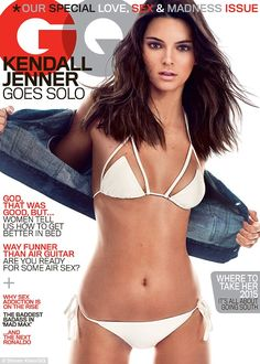 Stunning: Cover girl Kendall Jenner wears a barely there beige bikini for the May issue of...