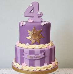 Rapunzel tangled inspired birthday cake made with Satin Ice Fondant Rapunzel Cupcakes, Bolo Rapunzel, Rapunzel Birthday Cake, Rapunzel Disney, Tangled Birthday Party, 4th Birthday Cakes, 6th Birthday Parties, Princess Birthday, Girl Birthday