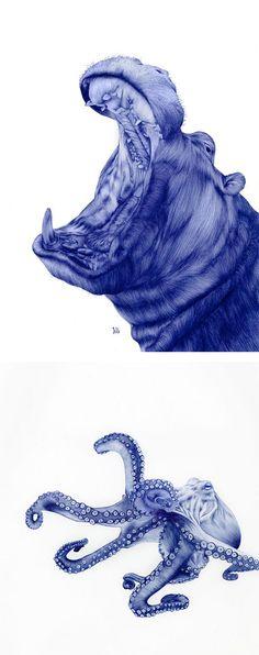 Cool Bic Pen Drawings of Animals by Sarah Esteje | Inspiration Grid | Design Inspiration