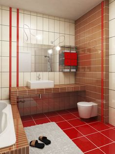 Red Floor Tiles With Subway Tiled Vanity