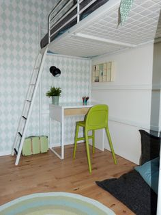 Loftbed, ikea desk and harlequin wallpaper
