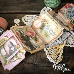 Do you ever get inspired while cleaning up the random pieces on your table? That's how this ATC Ticket Journal ca. Handmade Journals, Handmade Books, Vintage Journals, Handmade Notebook, Mini Scrapbook Albums, Mini Albums, Altered Books, Altered Art, Photo Facebook