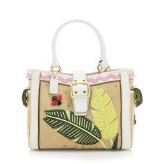This Coach tote is made from woven straw with a multicolored ladybug applique, white leather trim, and gold-tone hardware. Details include two rolled handles, two side pockets, and a belted snap closure. The interior is fully lined with two open pockets and one zippered pocket.