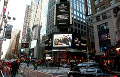 We're on the big screen! National FFA Officer announcement appears in Times Square.