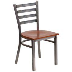 Flash Furniture Hercules Series Clear Coated Ladder Back Restaurant Chair - Wood Seat