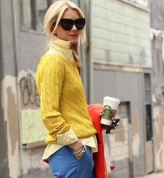 Love the yellow with the blue and the red lips!
