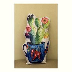 Almofada Cactus Vaso Bule Pimentas com Enchimento
