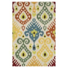 Stylishly anchor your living room or master suite with this alluring looped wool rug, showcasing a striking multicolor ikat motif.  ...