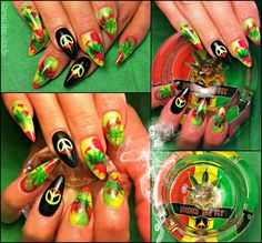420 rasta stoner nails