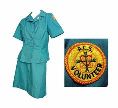 Vintage Uniform 1960-70s ACS Army Community Service Teal Green