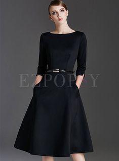 832eb4d1bd Dresses | Skater Dresses | Elegant O-neck Zippered Slim Skater Dress