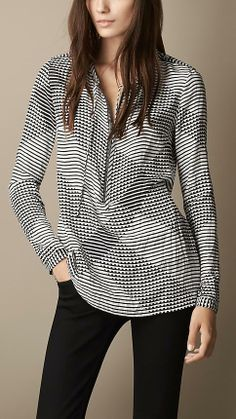 Burberry Brit Check Silk Twill Tunic