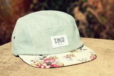 The Worlds Original Face  TWO Face London3rd Edition 5 panel cap, hat- light blue denim  - White rose cotton peak - White nylon strap Supreme condition, only the best quality
